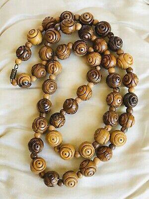 Vintage Art Deco Carved Wooden Bead Necklace 64cm Length Approx