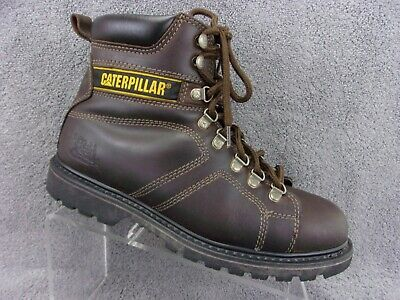 Caterpillar mens dark brown leather hightop lace up ankle work boot US10M P73237