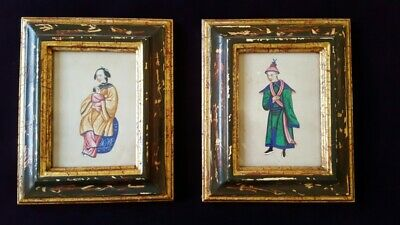 Antique Chinese Watercolor Painting Two Chinese Portraits, Qing Dynasty Art