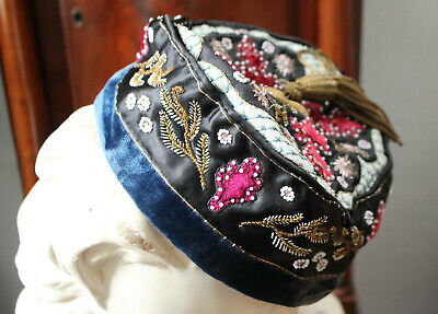 A LARGE Antique Victorian Silk & Beadwork Smoking Hat & Tassle 61cm UK 7 1/2