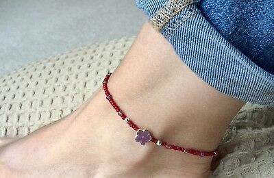 Opaque Dark Red Seed Bead with Glitter Purple Flower Charm Ankle Bracelet Anklet
