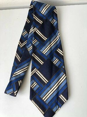 Vintage HARDY AMIES Tie blue/cream colour All Silk