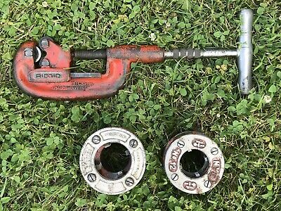 """RIDGID NO. 1-2 HEAVY DUTY PIPE CUTTER 1/8"""" TO 2"""" & Pipe Dies 1-1/2 • NYE 1-1/4"""