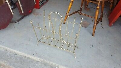 Vintage Mid-century Atomic Arrow Brass Wire Magazine Holder Rack Stand