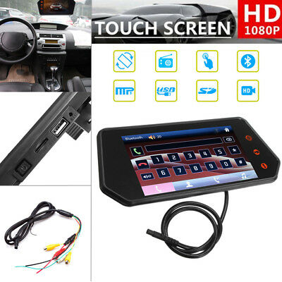 "Car Truck 7"" 1080P Touchscreen Rearview Mirror Monitor Bluetooth FM MP5 USB Port"