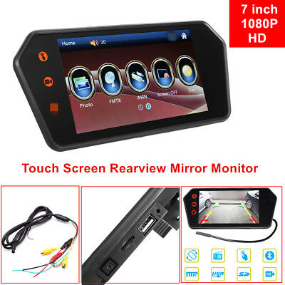 Car 7 inch HD Touch Screen Rearview Mirror Monitor Contact Bluetooth FM MP5 Kit