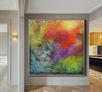 """Large Abstract Heavy Textured Painting Sculptural Artwork 30"""" x 30"""" by Nata S"""
