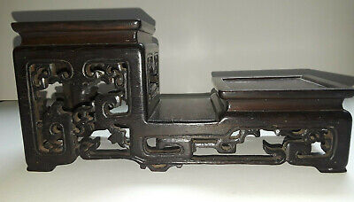 Antique Chinese Hardwood Finely Carved 3 Tiered Stand Fantastic Display Piece