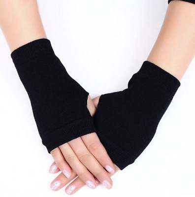 Black Knitted Fingerless Winter Gloves Wrist Length Stretchable Warm Mittens