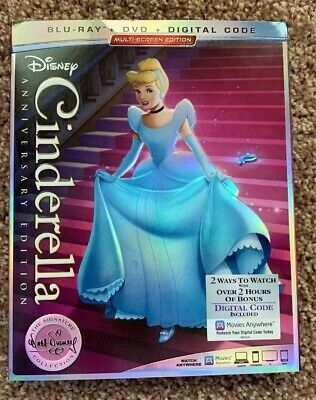 Cinderella Blu-Ray+DVD+Digital Code Anniversary EdItion New w/Slipcover