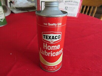 NOS Vintage Texaco Home Lubricant Oil Can-Metal -4 Oz.-Sealed Full-w/Spout