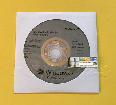 Microsoft Windows 7 PRO Professional 64bit DVD + COA Product Key + Hardware**