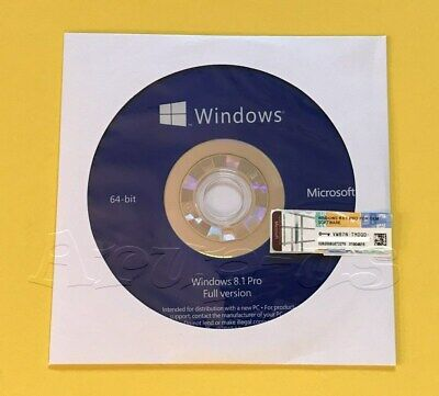 Microsoft Windows 8.1 PRO Professional 64bit DVD + COA Product Key + Hardware**