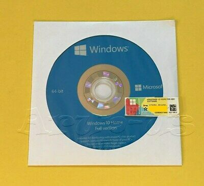 Microsoft Windows 10 HOME 64bit DVD + COA Product Key + Hardware**