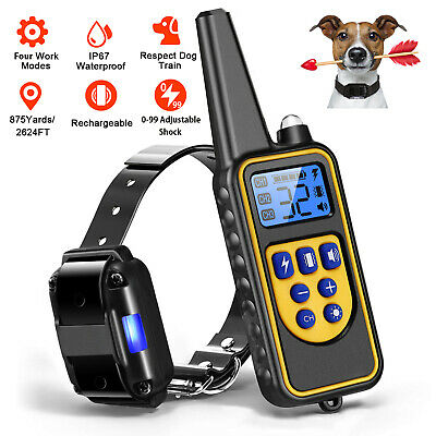 Waterproof Rechargeable 875 Yard Pet Dog Shock Training Electric Collar+Remote