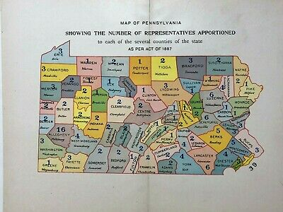1890 lithographed map of PA representatives apportionment nice colors