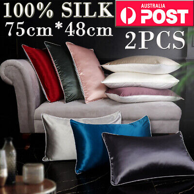 100% Mulberry Silk Pillow Case Anti Ageing Wrinkles Silk Pillowcase 4Color AU