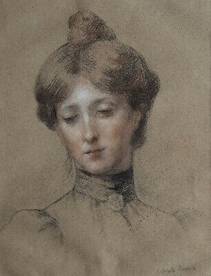 Antique Drawing, Woman Portrait, 19th Century Art, Antoinette Raoux (1872-1928)