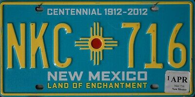 USA Number Licence Plate NEW MEXICO CENTENNIAL 1912-2012