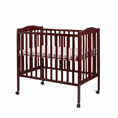 Coffee Pine Wood Baby Toddler Bed Convertible Nursery Infant Newborn