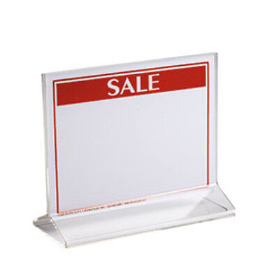 Double Sided Sign Holder in Acrylic Finish 5 ½ H x 7 W Inches - Box of 10