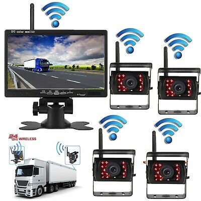 "7"" Wireless Car TFT LCD Monitor+Quad Wireless Backup Rearview Truck CCD Camera"