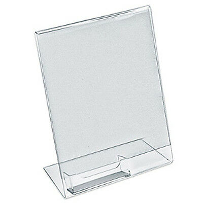 Acrylic Clear L Shaped Sign Holder 11H x 8.5W Inches w/ Large Pocket- Box of 10