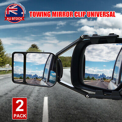 2x Towing Mirror Clip Universal Multi Trailer Caravan Car Truck Vehicle 4WD E