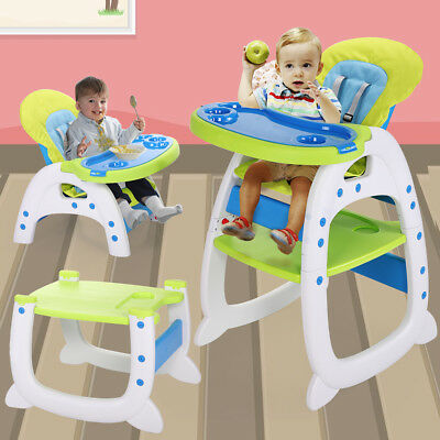 Blue-green 3 in 1 Baby High Chair Convertible Play Booster Toddler Feeding