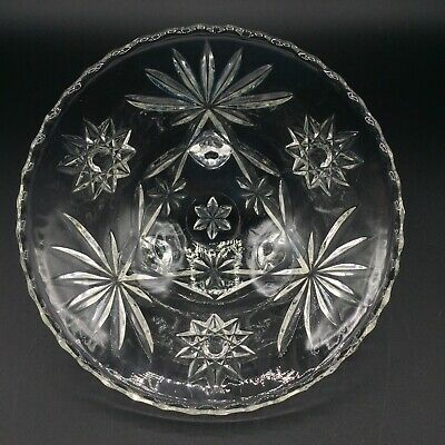 Vtg Clear Cut Crystal Glass Bowl 3 Footed Candy Dish Atomic Star Pattern 6.75""