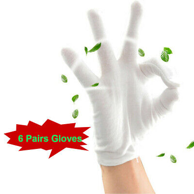 6 Pairs White Cotton Gloves Liners Thin Working Handling Manicure Gloves Beauty