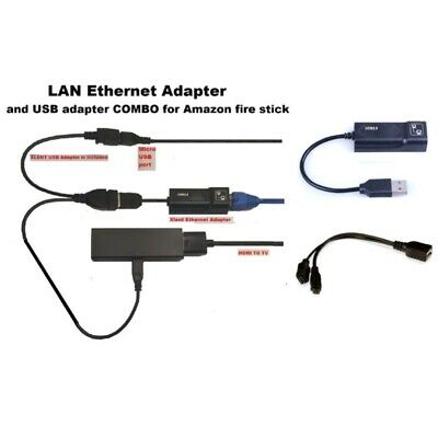 Buffering Reducing LAN Ethernet Adapter Cord for AMAZON FIRE TV 3 or STICK USA