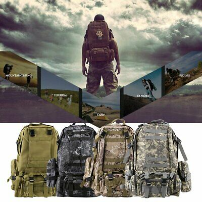 55L Molle Outdoor Military Tactical Bag Camping Hiking Trekking Backpack MY