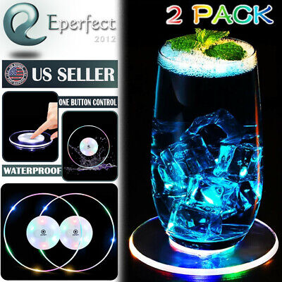 2 LED Cup Pad Mat Holder Bar Party Decor Drink Coaster Luminous Atmosphere Light