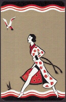 Playing Cards 1 Single Swap Card Old Vintage Art Deco GIRL LADY at Beach SEAGULL