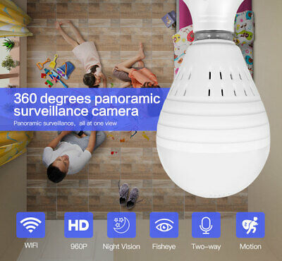 HD 960P 360° Panoramic Wifi Control IP Light Bulb Home Security Camera LED P2P