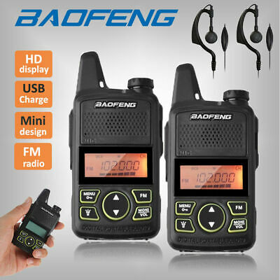 2x Baofeng BF-T1 Walkie Talkie Portable Two Way Radio + USB Charger +Earpieces