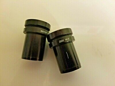 2 Bausch & Lomb Eyepieces 20X WF 31-15-64 Stereozoom Microscope Lens Set B&L