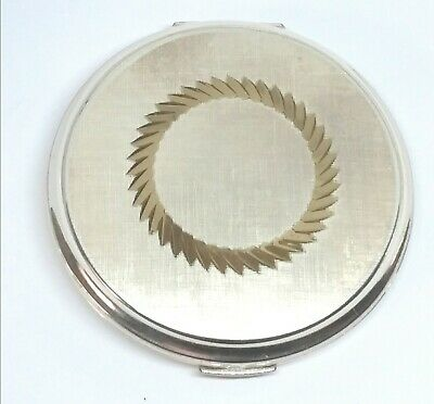 Vintage Stratton England Sliver & Gold Powder Mirror Compact Collectable