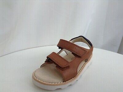 BNIB Clarks Boys Crown Root Tan Leather Air Spring Sandals G Fitting