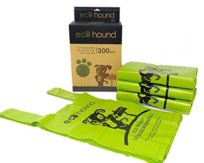 Ecohound NEW 300 Large Dog Waste Bags With Dispenser Box And Easy Tie Handles On