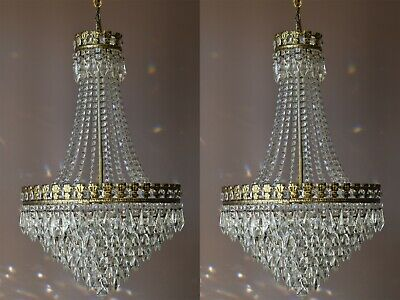 TWO  Large Antique Vintage Crystal Chandeliers, lighting,French Brass Pendants