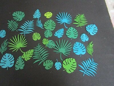 DIE CUT   TROPICAL LEAVES  17 shades of green   CARDSTOCK
