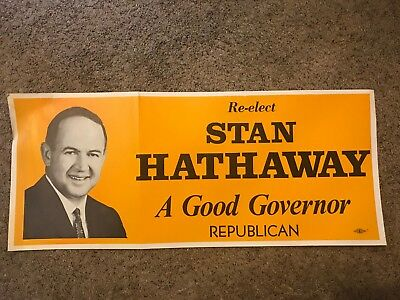 Republican Wyoming Governor Stan Hathaway Vintage Re Election Campaign Poster