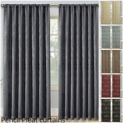 Ready Made Pencil Pleat Window Curtain Luxury Living Room Curtains With Tie Back
