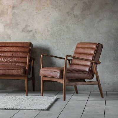 Datsun Armchair Vintage Brown Leather Lounge Office Mid Century Modern Retro