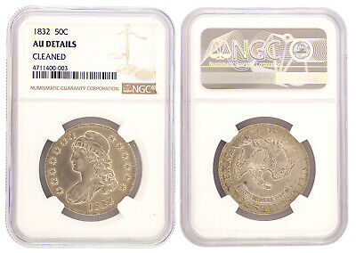 1833 Capped Bust Lettered Edge Half Dollar 50c NGC AU Detail Certified Coin 0003