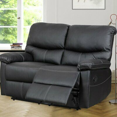 Black 2 Seater Real Genuine Leather Recliner Sofa Super Comfy Lazy boy Couch MT