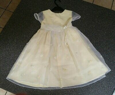 Pretty Originals Girls Pastel Yellow Dress Age 4 Immaculate condition