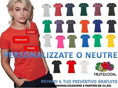 nuova t-shirt donna fruit of the loom iconic mcorta slim fit personalizzabile